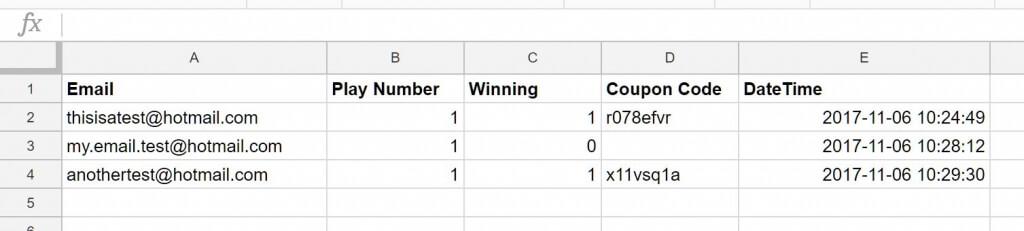 Google sheets final result