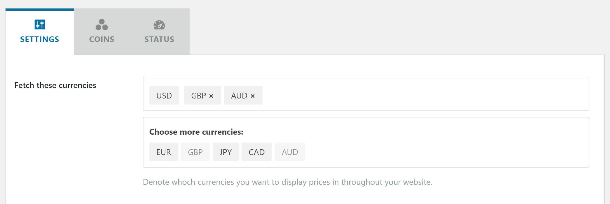 Select currencies