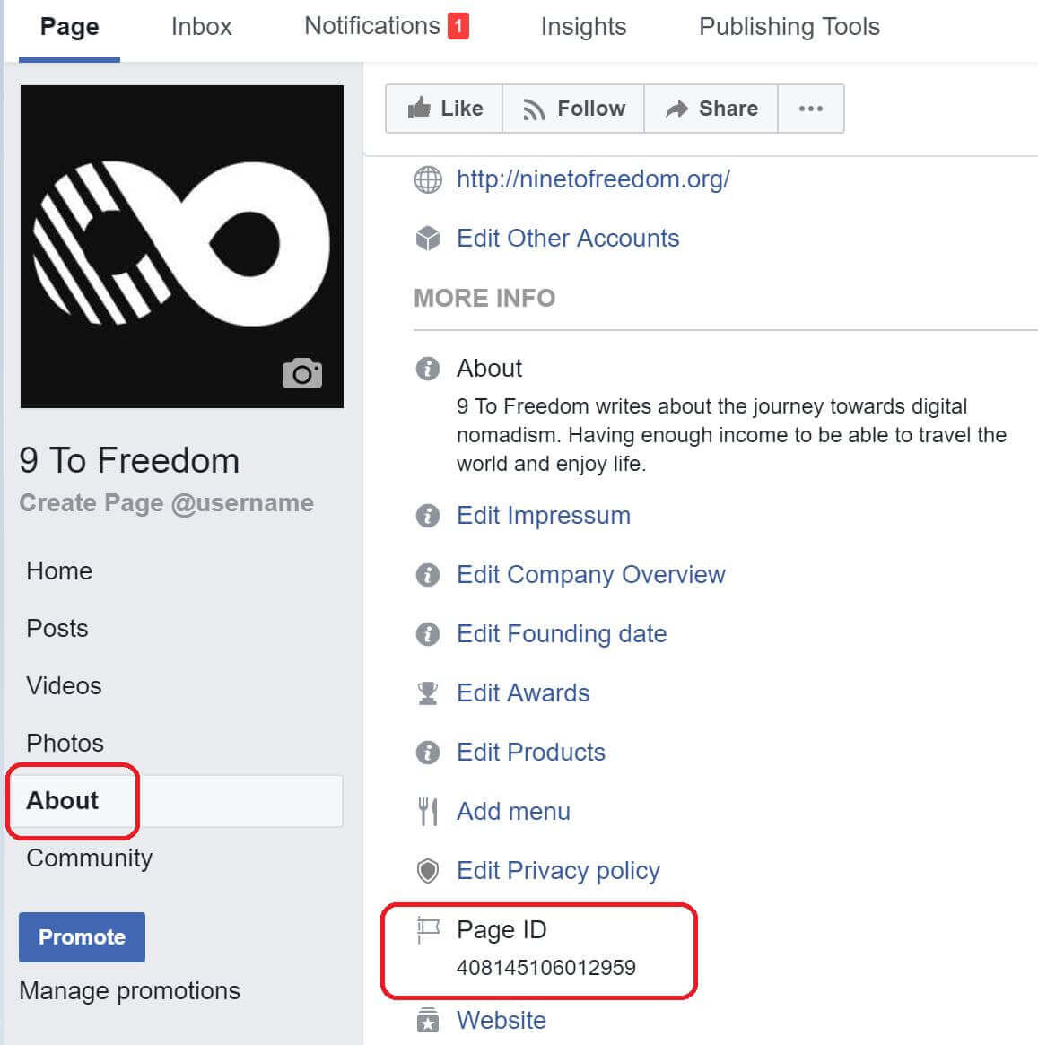 Find your Facebook Page ID