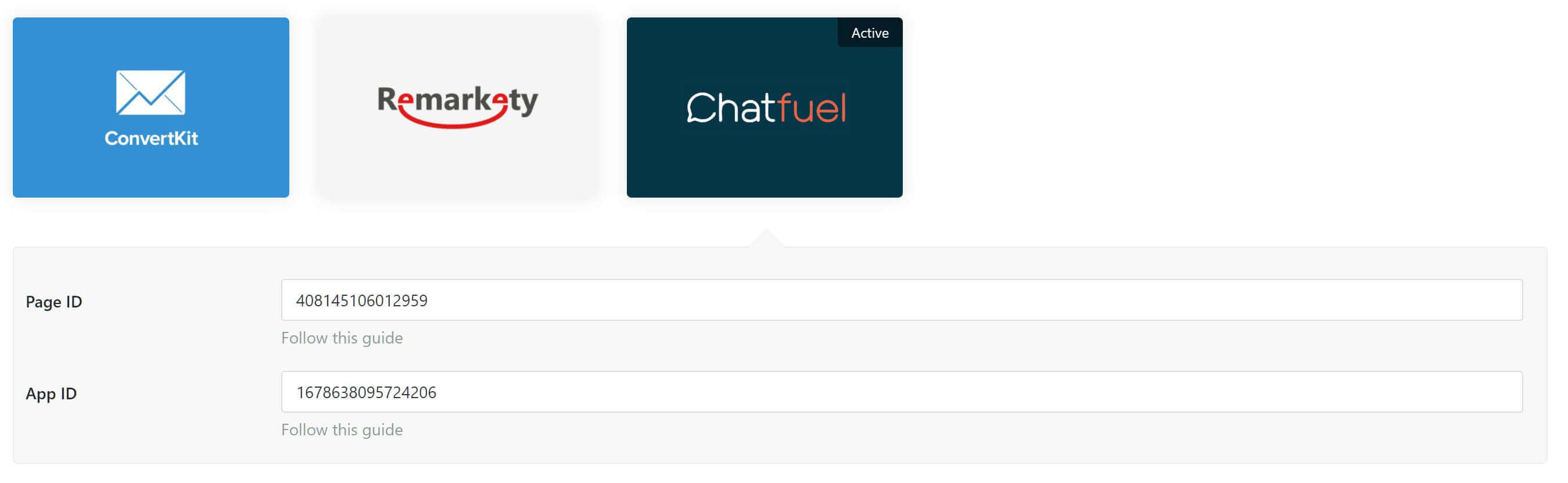 Your chatfuel settings in WP Optin Wheel